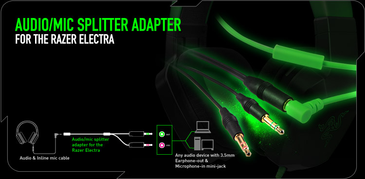 Audio/Mic Splitter Adapter для Razer Electra